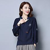 サインコットンシャツ女性緩い大きいサイズの女性'野生9ポイント袖のTシャツの印刷のsの2017年春新しい波