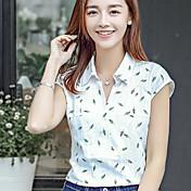 2017夏の新しい韓国のファンの女性に署名Vネック半袖シャツ女性文学の小さなシャツの印刷