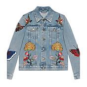 g primavera 2017 del bordado de la mariposa coreano suelta chaqueta corta de mezclilla estudiante salvaje rebeca femenina
