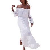 女性 セクシー シンプル ストリートファッション カジュアル/普段着 フォーマル ボディコン ルーズ ドレス,ジャカード ボートネック マキシ 半袖 ホワイト リネン 夏 ミッドライズ マイクロエラスティック ミディアム