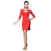 Baile Latino Vestidos Mujer Entrenamiento Fibra de Leche Encaje 2 Piezas Manga de longitud 3/4 Cintura Media Vestido Pantalones cortos