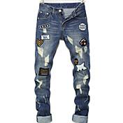 Rovné Džíny Kalhoty chinos Muži Kalhoty-Jednobarevné Běžné/Denní Jednoduchý Mid Rise Zip Knoflíky Bavlna Mikroelastické Pružina podzim