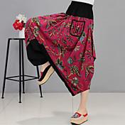 サインリネンパンツ国家風パンツハーレムパンツビッグヤード女性の春と夏の綿のズボン緩いニンジンパンツ