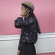 firmar vestido de la mujer coreana dulce retro de la solapa de impresión de manga larga camisa de botones blusa de gasa
