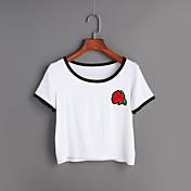 Mujer Simple Noche Primavera Verano Camiseta,Escote Redondo Estampado Manga Corta Algodón