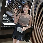 firmar nueva pieza señoras de la manera falda de cuero delgado superior en perspectiva + faldas enviado envuelta en el pecho