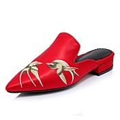 Pantofle a Žabky-PU-Pohodlné vyšívané boty-Dámské-Černá Šedá Červená-Svatba Běžné Party-Nízký podpatek