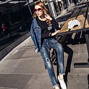 新しい女性のジーンズ人格ハーレムパンツの崩壊パンツ春緩いコットンストレッチデニムパンツの足の潮