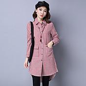 符号2017春韓国人女性の綿の長袖のチェック柄のシャツコート