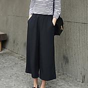 Dámské Větší velikosti Volné Kalhoty chinos Kalhoty,Běžné/Denní Práce Plážové Retro Jednoduchý Roztomilé Jednobarevné Mid Rise Pružnost