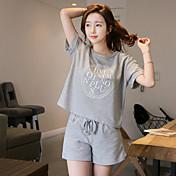 Mujer Clásico Uso Diario Deporte Deportivo Verano T-Shirt Pantalón Trajes,Escote Redondo Color sólido Manga Corta Estilo clásico Eslático