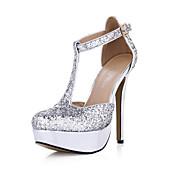 女性-ウェディング ドレスシューズ パーティー-化繊-スティレットヒール-コンフォートシューズ 靴を点灯-サンダル-シルバー