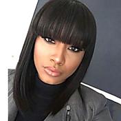 女性2017用の前髪を有する媒体の長いボブ黒のかつらのキャップレスの人間の髪の毛のかつら