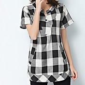 Dámské Kostičky Běžné/Denní Práce Velké velikosti Vintage Jednoduché Sofistikované Košile-Léto Bavlna Klasické klopy Krátký rukávModrá