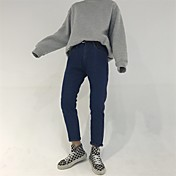 firman nuevos borde rojo pantalones vaqueros flojos pantimedias mujeres de los pantalones vaqueros pantalones rectos pantalones de cintura