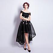 Koktejlové party šaty a-line off-the-rameno asymetrický tyly s aplikací