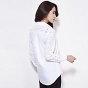 白いシャツに薄い女性モデルは、新しい長袖の白いコットンシャツ韓国人女性ファンプレッピーブラウス春