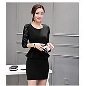 2017年春新しい韓国長袖スリムパッケージヒップスカートのファッションOL気質ステッチレースのドレス