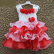 Vestido Chica deFloral-Mezcla de Algodón-Verano-Rosa / Rojo