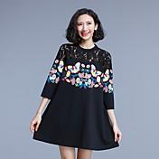 mujeres de gran tamaño nuevo de costura de encaje firmar resorte sueltan la impresión de un vestido de la falda de la palabra mm de grasa