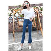 primavera y otoño afluencia de nuevos onda coreano pantalones de cintura elástica bordada micro altavoces delgados delgadas nueve puntos