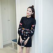 早春2017ヘビー刺繍蝶シンプルなブラウスシャツスリムファッション野生の長袖シャツにサイン
