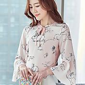 Realmente haciendo nuevo 2017 primavera nueva blusa de impresión camisa de gasa