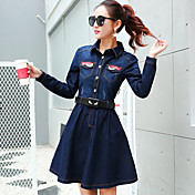 スリム薄い長い段落長袖デニムのサイン修理新しい春のファッションレジャー韓国語バージョンは、単語のスカートをジャンプスーツ