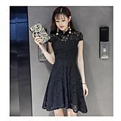 本当に2017春夏韓国の気質半袖襟レースチョンサムドレススリムな単語スカートを作る