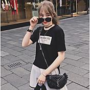 Verano nuevo coreano de manga corta ronda cuello patrón de impresión offset cartas sueltas camiseta casual marea
