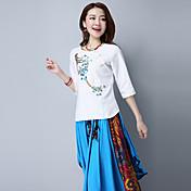 新しい春と夏の刺繍のシャツビッグヤード女性の野生の2017看板
