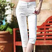 Dámské Jednoduchý Natahovací Kalhoty chinos Kalhoty Vypasovaný High Rise Krajka Jednobarevné