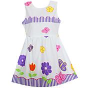 女の子の ホリデー お出かけ カジュアル/普段着 フラワー コットン ドレス 夏 春 ノースリーブ