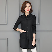 2017 primavera y otoño nueva camisa de algodón femenina camisa de manga larga versión coreana de la parte larga de las yardas flojas capa