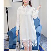 2017 el nuevo jacquard fresco literario literario del algodón del resorte franjó el envío libre long-sleeved de la camisa de vestido del