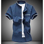 Pánské Barevné bloky Běžné/Denní Jednoduché Tričko Bavlna Košilový límec Krátký rukáv
