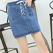 記号2017レトロハイウエストストラップデニムスカートバストスカートダブルポケットスカートの春と秋韓国版
