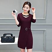 2017人の女性' sの春と秋の新しい韓国長袖のドレスと長いセクションスリムパッケージヒップスカートのスリットMS。ステップ