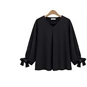 2017 primavera nuevo estilo europeo de grasa mm fertilizantes para aumentar tamaño de las mujeres era camisa de gasa color sólido delgada