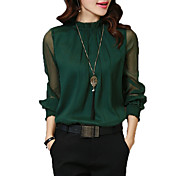 Mujer Vintage Sofisticado Formal Trabajo Para Todas las Temporadas Camisa,Escote Chino Un Color Manga Larga Rayón Poliéster