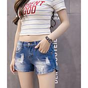 Agujero de la alta cintura del dril de algodón pone en cortocircuito los estudiantes coreanos flojos del verano femenino una pierna simple