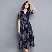 Signo 2017 verano nueva falda grande moda elegante impreso de manga corta vestido de cintura v-cuello mujeres