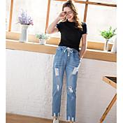 Firmar en el resorte de 17 nuevo cordón elástico coreano agujero suelto desgastado jeans pantalones de harén femenino 9