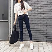 otoño e invierno nueva señal elástica lápiz de la cintura de los pantalones pies agujero mujer coreana salvaje delgada pantalones