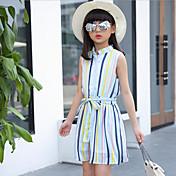 Vestido Chica de Casual/Diario Playa Vacaciones A Rayas Poliéster Sin Mangas Verano Primavera