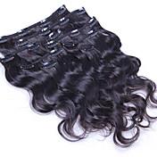 100% přírodní tělo vlna klip v lidských prodlužování vlasů brazilské vlasy klip v prodloužení 8 ks / sada 100 g