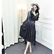 装着サイン春新しい光沢のあるシャツ+ストラップドレスプリーツダイヤモンドのベルベットの作品