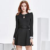 ロングコートドレスに2017新しいファッションスリム薄い長袖のドレスに署名