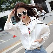 Primavera y verano nuevo coreano salvaje encapuchado cordón corto chaqueta femenina coreana de manga larga cardigan dom protección ropa