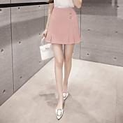 Mujer Sexy Trabajo Cotidiano Al Aire Libre Pedida Ropa de trabajo Sobre la Rodilla Faldas,Línea A Color puro Verano Un Color